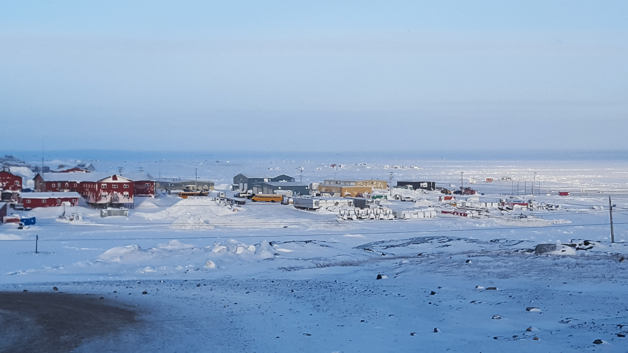 buildings in arctic landscape