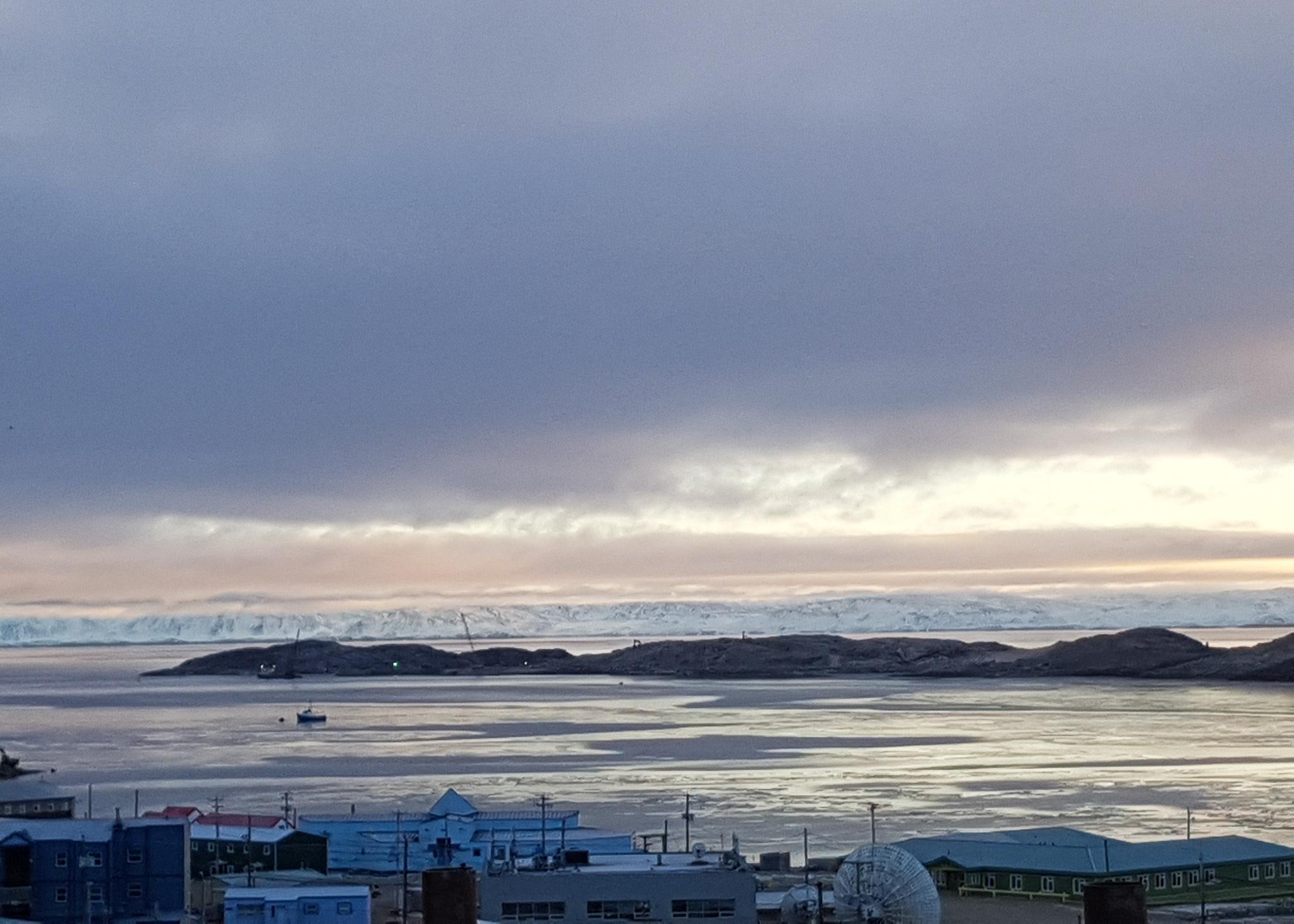 shoreline with glacier in background